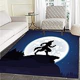 Wolf Floor Mat Pattern Full Moon Night Sky Growling Werewolf Mythical Creature in Woods Halloween Living Dinning Room & Bedroom Rugs 5'x6' Dark Blue Black White