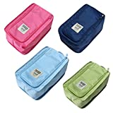 (Set of 4, 4 Color) Nylon & Mesh Travel Portable Tote Shoe Pouch Available Waterproof Storage Bag with Zipper, 12.6*7.87*5.12 inch