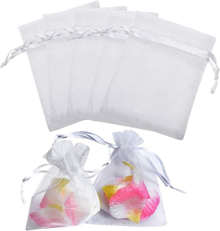 50 bolsitas de organza blancas, para joyas, regalos, para lavanda, regalo, boda, fiesta, 7 x 9 cm