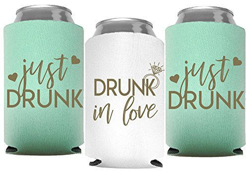 Drunk In Love and Just Drunk Bachelorette Party Can Coolers, Set of 12 White and Mint Green Beer Can Coolies, Perfect Bachelorette Party Decorations and Brides Maid Gifts (Mint Green) by Your Dream Party Shop