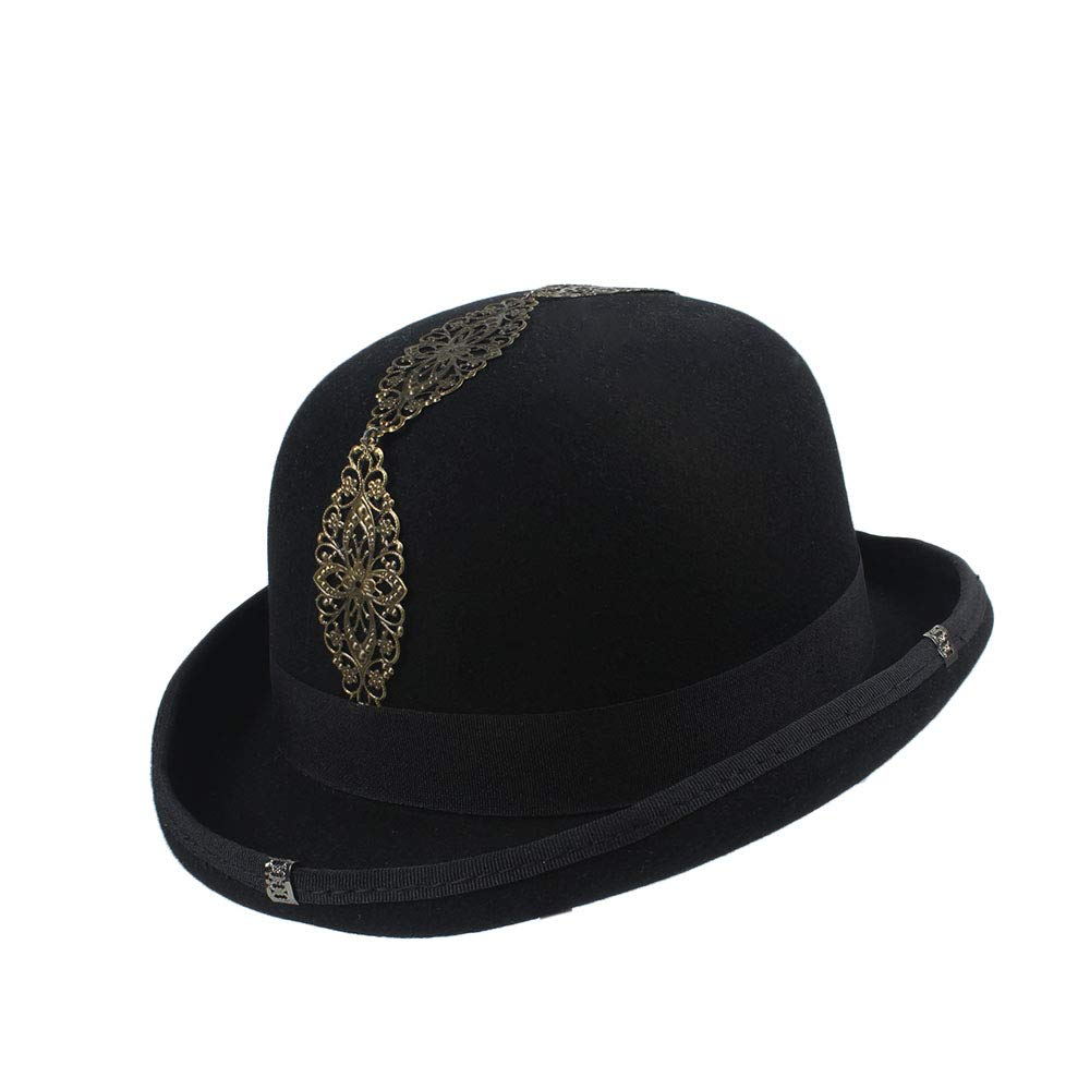 LL Women's Vintage Steampunk Gear Glasses Black Top Hat Brown Fedora Party Bowler Headwear (Color : Black, Size : 57cm) by LL (Image #5)