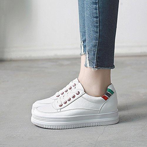 Chaussures 3 5cm 5 Couleur PU Baskets EU39 1001 Eté Taille Comfort Heel White Femmes pour Hiver Automne Printemps CN40 Low FUFU sport de Casual UK6 1001 Athletic Outdoor rq4Ur
