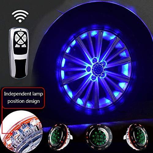 車のホイール用LEDライト、11モードLEDソーラーカーホイールタイヤハブライト、RGB点滅カラフルなエクステリアライト、RFリモートコントロール、装飾警告灯(4個),20lights-blue