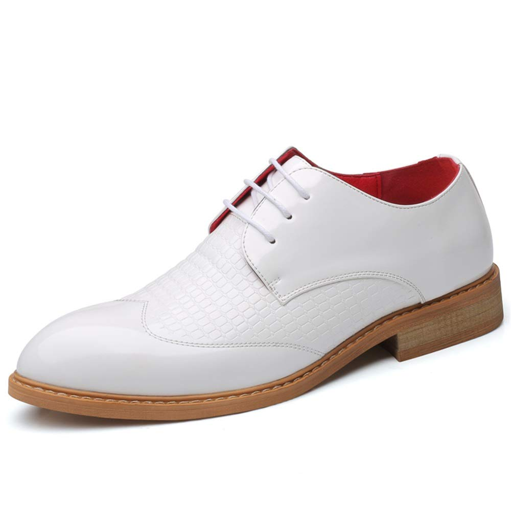 Business Oxford shoes Compatible Men Formal PU Leather Lace-up Retro Embossing Vamp (color   White, Size   10 UK)