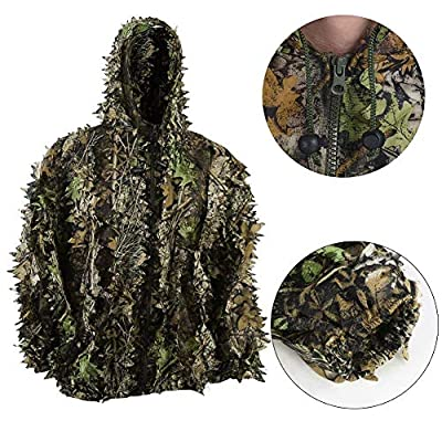 Upgrade Ghillie Suit Set, 3D Lifelike Super Lightweight Camouflage Clothing Outdoor Jungle Woodland Hunting for Youth and Adult