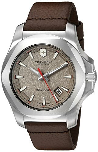 Victorinox Men's 241738.1 'I.N.O.X.' Swiss Quartz Stainless Steel Brown Leather Watch -  adult