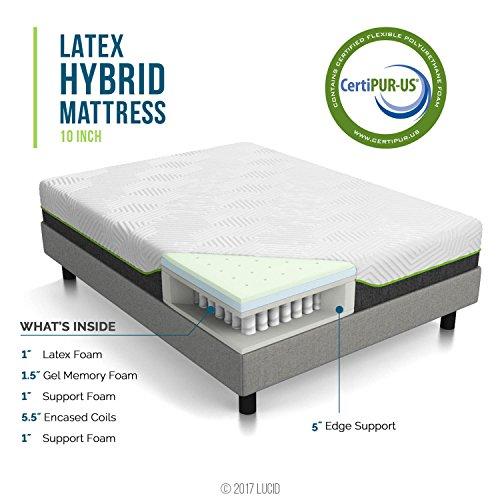 LUCID 10 Inch California King Latex Hybrid Mattress - Cooling Gel Memory Foam - Responsive Latex Layer - Adaptable - Premium Support - Durable Steel Coils