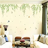 ASIBG Home Living Room Bedroom Wall Glass Shop Window Stickers Small Fresh Garden Style Green Leaves 100×180Cm