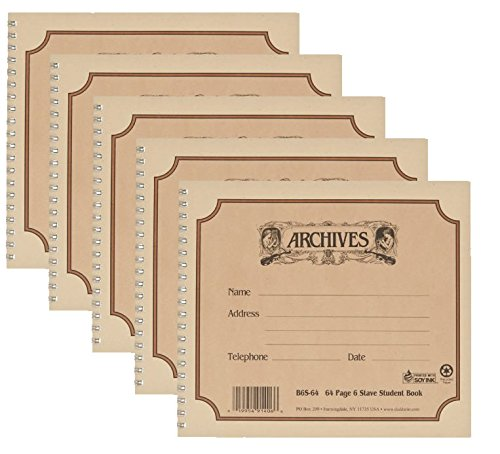 Archives 5 Packs Spiral Bound Manuscript Paper Book  6 Stave  64 Pages