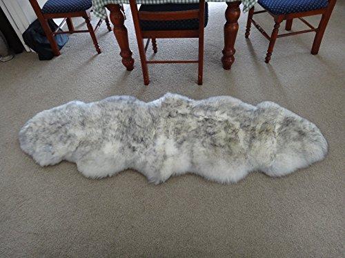 Longfeng Genuine Sheepskin Rug White/Gray Double Pelt Natural Fur - Sheepskin Rug Pad for Bedroom Living Room (Double/2ft x 6ft, White/Gray)