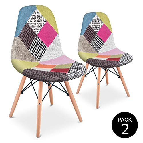 Mc Haus SENA Patchwork - Pack 2 Sillas comedor vintage patchwork tower multicolor rosa diseno tapizado sillas salon estilo retro diseno tower 49x46x84cm