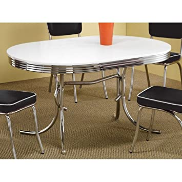 coaster 50s retro nostalgic style oval dining table chrome plated - Chrome Kitchen Table