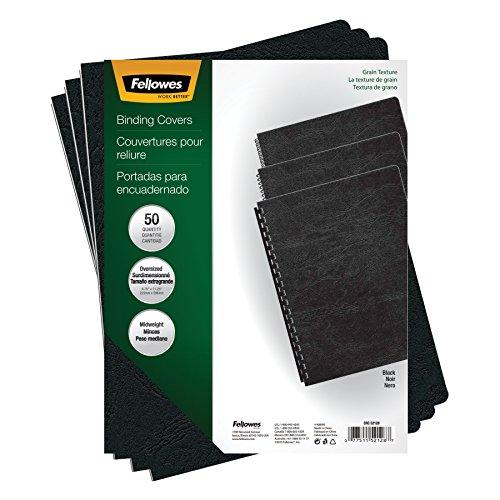 (Fellowes Binding Grain Presentation Covers, Oversize, Black, 50 Pack (52128))
