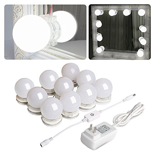 MRah LED Vanity Mirror Lights kit Hollywood Style Makeup Mirror Lights with 10 Dimmable Bulbs, Lighting Fixture Strip for Makeup Vanity Table Set in Dressing Room(Mirror Not Included)
