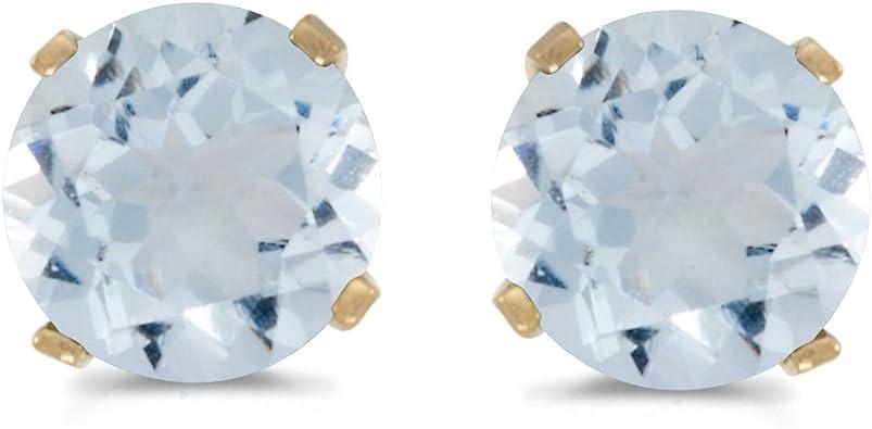 14K Yellow Gold Aquamarine Stud Earrings Aquamarine Earrings Round Cut Studs March Birthstone Round Aquamarine Solitaire Stud Earrings