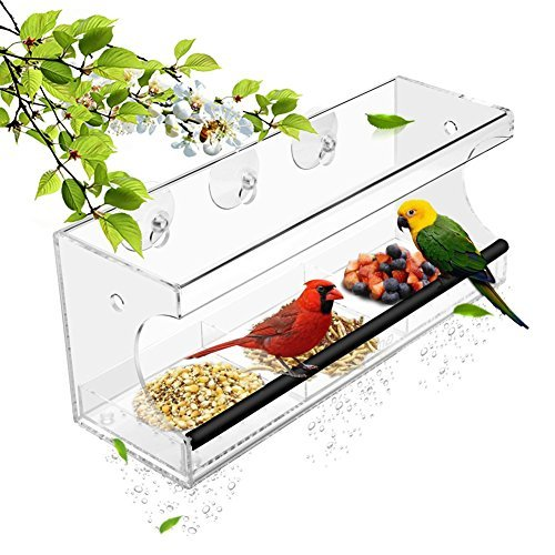 Window Bird Feeder Clear Acrylic Larger - with Strong Suction Cup + 3 Grid Removable Tray Cat Squirrel Buster -
