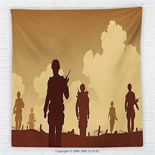 [59 x 59 Inches War Home Decor Fleece Throw Blanket Soldier Shadows with Military Costumes and Weapons Walking on Patrol Print Blanket Brown Cream] (Shadow Panther Ninja Costumes)