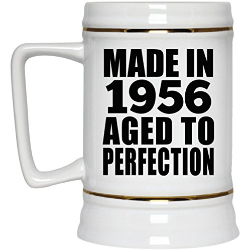 63rd Birthday Made In 1956 Aged to Perfection - 22oz Beer Stein Ceramic Bar Mug Tankard - Gift for Friend Kid Daughter Son Grand-Dad Mom Mother's Father's Day Birthday Anniversary