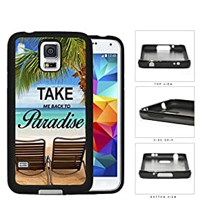 Beach Chairs And Palm Trees Ocean Scenery Rubber Silicone TPU Cell Phone Case Samsung Galaxy S5 SM-G900