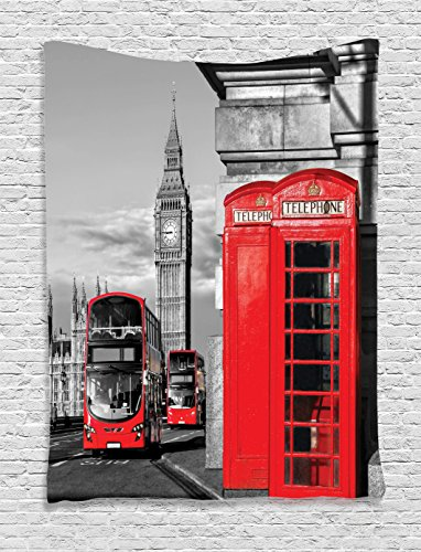 London Decor Tapestry By Ambesonne, London Telephone Booth I