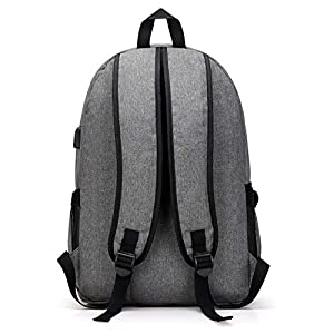 Waterproof Laptop Backpack Lightweight School Bookbags with USB Charger for men&women (black)