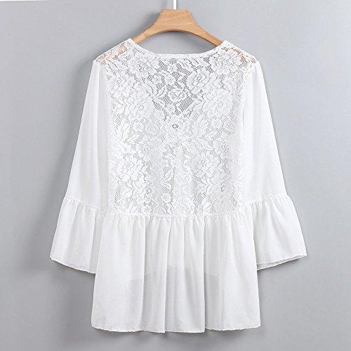 Chic Cou Blanc Loisirs Casual Mousseline Ouvert Lady Dcontract Dos T de Chemises Chemisier Vest Tops en Lace Femme Haut Panel Blouse Automne Lache V Soie Shirt 8Fd84Tqw