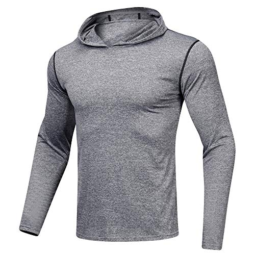 - SPORTTIN Men's Sports Pullover Fitness Quick Dry Long Sleeved T-shirt Hooded Loose Sweatshirt(Gray,XXL)