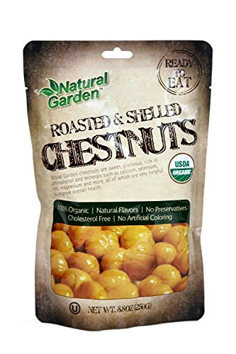 Natural Garden Roasted & Peeled Organic Whole Chestnuts - (4 Packs of 8.8 oz Pouches)