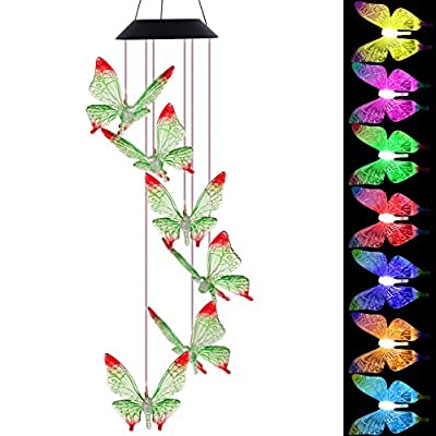 Solar Butterfly Wind Chimes Outdoor- Waterproof Solar Powered LED Changing Light Color 6 Green Butterflies Mobile Romantic Wind-bell For Home, Party, Festival, Night Garden Decoration(blackboard)