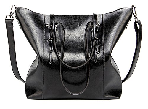 Women Handbags,Handmade Large Leather Top Handle Crossbody Shoulder Tote Satchel Messenger Bags Big Purse For Shopping Travel School (Black)