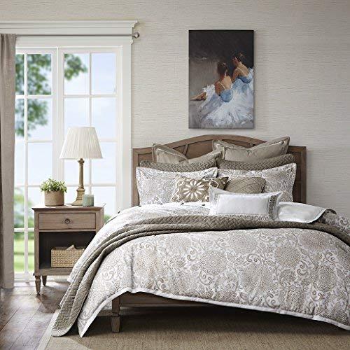 Madison Park Signature Sophia King Size Bed Comforter Duvet 2-In-1 Set Bed In A Bag - Ivory , Jacquard - 9 Piece Bedding Sets - Ultra Soft Microfiber Bedroom Comforters