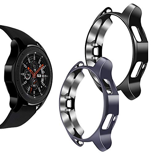 Goton Compatible Samsung Galaxy Watch 46mm Case 2018 (for SM-R805 and SM-R800 and Gear S3 Frontier SM-R760),(2 Packs) Soft TPU Smart Shockproof Case Cover Bumper Protector (Gray and Black, 46mm)