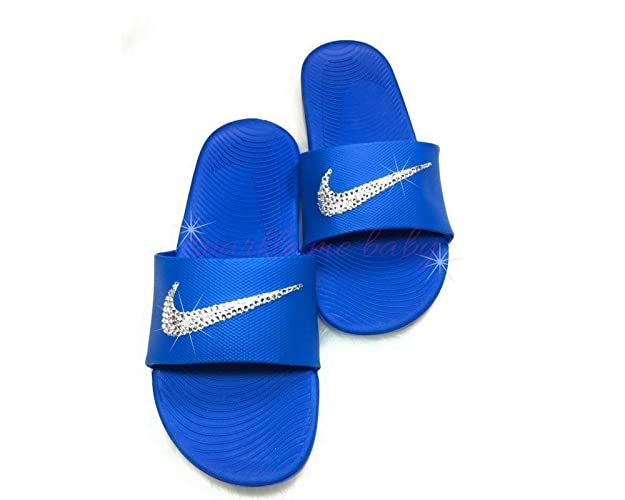 ac90f69b4aa4 Image Unavailable. Image not available for. Color  Nike Slide Kawa Women s  Blue Swarovski Bedazzled Shoes Bling Nike Customized ...