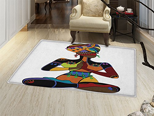 smallbeefly Yoga Door Mats for home Woman Figure in Ethnic Style Costume Praying Culture Religion Enlightenment Grace Bath Mat Bathroom Mat with Non Slip -