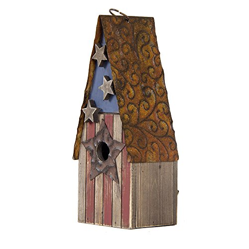 Glitzhome Wooden Patriotic Distressed Garden Bird House (12.4 (Birdhouses Garden)