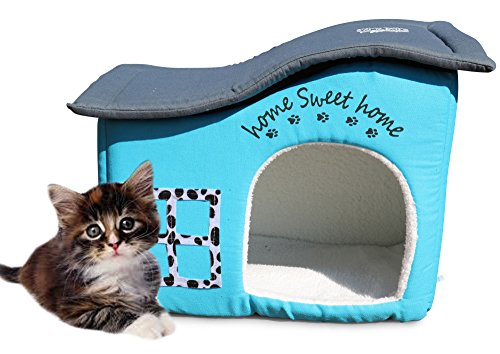 Feline Ruff Indoor Cat House. an Extra Sturdy Luxury Covered Indoor Cat Bed Condo. Pet House Shelter for Dogs and Other Pets Too. (Home Sweet Home)