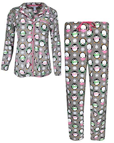 Pillow Talk Women's Sleepwear Microfleece Pajama Top and Pant 2-Piece Set, Charcoal Penguins, Large' 2 Piece Microfleece Set
