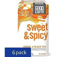 Good Earth Herbal & Black Tea, Sweet & Spicy, 18 Count Tea Bags (Pack of 6)