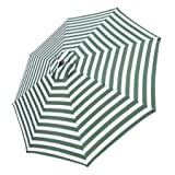 10 foot Patio Market Umbrella Replacement Canopy with Green and White Stripes