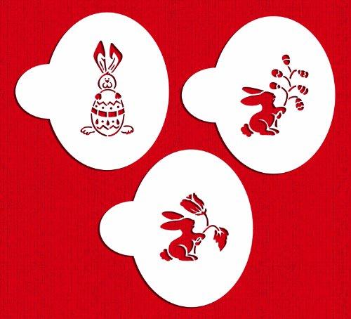 Designer Stencils C297 Easter Bunnies Cake Stencils, Beige/semi-transparent