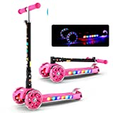 FUNANDTRICKRIDEONS Mini Fordable Kick Scooter, 4 wheel With lights Glowing Scooter, 4 step Adjustable handlebar Led Flashing Pu Wheels For boys Kids Girls Age 3-10-R 56x13cm(22x5inch)