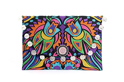 ETHNIC LANNA Unique Clutch with Coins Hmong Embroidered Carnival Bohemian Gypsy Carnival Design
