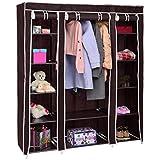 totoshop 70'' Portable Closet Storage Organizer Clothes Wardrobe Shoe Rack W/Shelves New Brown