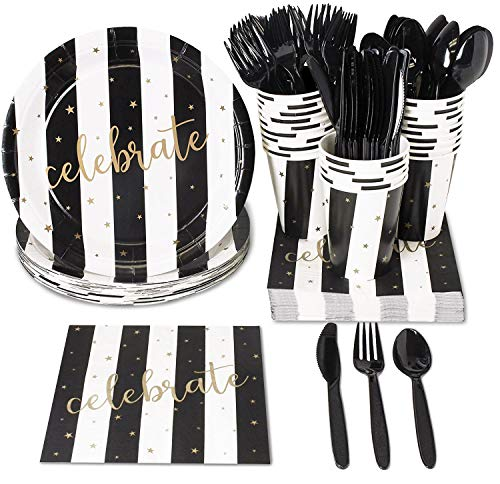 Black And White Party Decorations (Juvale Black and Gold Party Supplies - Serves 24 - for Graduation, Birthday and Anniversary)