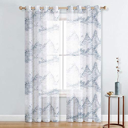 NICETOWN Country Style Mountains Forest and Dragonflies Pattern Sheer Curtains Panels With Grommet Top for Bedroom/Living Room/Study Room/Office (1 Panel = 52