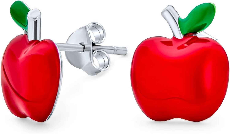 Tiny Orange Red Enamel Summer Fruit Watermelon Pineapple Strawberry Apple Stud Earrings For Women Teen Sterling Silver