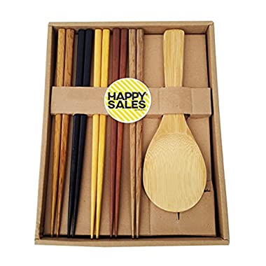 Happy Sales HSCH70, Japanese Chopsticks Gift Set Rice Paddle Included, Natural