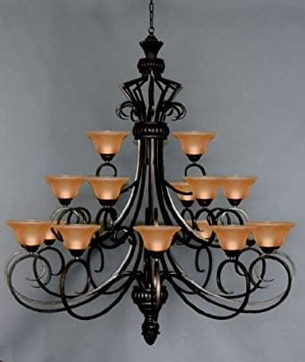6FT Wrought Iron Chandelier Large Foyer Entryway Lighting Country French 3  Tiers 21 Lights , HT72