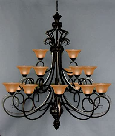 6ft wrought iron chandelier large foyer entryway lighting country