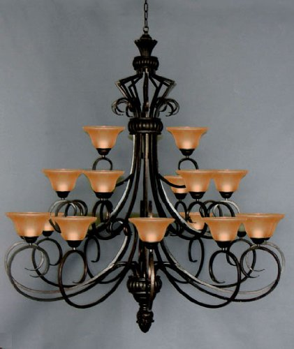 6FT Wrought Iron Chandelier Large Foyer Entryway Lighting Country French 3 Tiers 21 Lights , HT72 X WD55 Ceiling Fixture